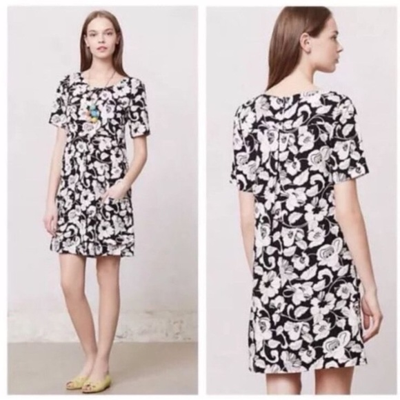 aa586ba5e4ca Anthropologie Dresses & Skirts - Maeve black and white floral zola shift  dress